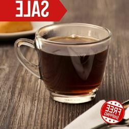 8.5 Oz Coffee Cup Crystal Clear Glass Round Mugs 12 Case Res
