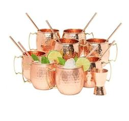 8 Moscow Mule Copper Mugs 16 Ounce w/8 Straws & Jigger Set
