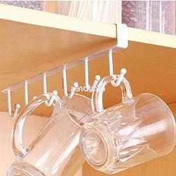 AMAZZANG-6 Hooks Cup Holder Hang Kitchen Cabinet Under Shelf