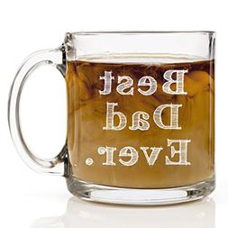 Best Dad Ever Custom Glass Mug for Men, Unique Cup for Daddy