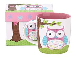 Burton & Burton Whimsical Calico Owl Bone China Coffee Mug w