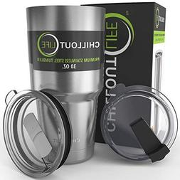 CHILLOUT LIFE Stainless Steel Coffee Mug 30 oz with 2 Lids -