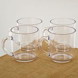 CITYPOINT 4 pcs, 11 OZ Crystal Clear Plastic Coffee Mug, Res