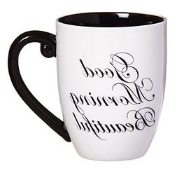 Cypress Home Black Ink Good Morning Beautiful 18 oz Ceramic