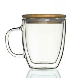 Double-wall 16 oz Borosilicate Glass Coffee Mug Cup TeaCup