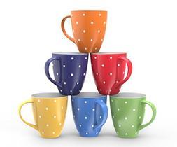 Francois et Mimi 16-Ounce Ceramic Coffee Mugs, Large, Polka