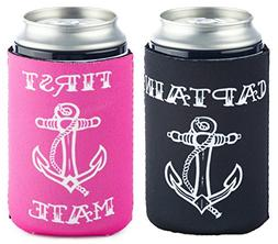 Funny Guy Mugs 2 PACK: Captain/First Mate Collapsible Neopre