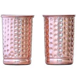 Hammered Pure Copper Tumbler Set of 2 | Traveller's Copper M