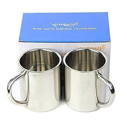 Housavvy 2 Piece Kid's Water Mugs, Stainless Steel Drinking
