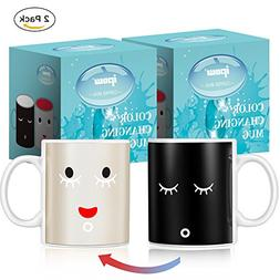Ipow 2 Pack Neat Magic Morning Mug Coffee Tea Milk Hot Cold