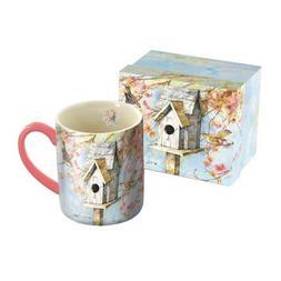 "LANG - 14 oz. Ceramic Coffee Mug - ""Summer Birdhouse"", Art b"