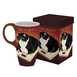 """LANG - 18 oz. Ceramic Latte Mug - """"American Cat - Stretch Ke"""