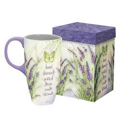 "LANG - 18 oz. Ceramic Latte Mug - ""Lavender"" - Artwork by Ja"