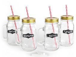 Large Mason Jar Mugs with Handle, Tin Lid and Plastic Straws