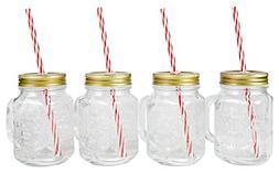 Mason Jar Mugs with Handle, Tin Lid and Plastic Straws. 16 O