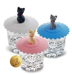 Rimobul 3 pcs Lovely Cats Lid Watertight Silicone Cup Lid Co