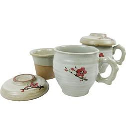 Set of 2, Porcelain Tea Cup with Infuser and Lit Set - Korea