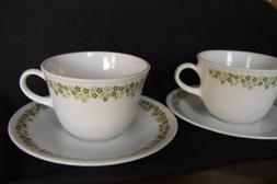 Set of 2 Vintage Corelle Spring Blossom Green Cups and Sauce