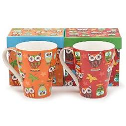 Set of 2 Whimsical Owl Coffee Mugs/cup in Gift Boxes 14 Ounc