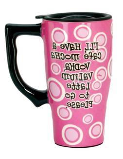 Spoontiques Cafe Mocha Vodka Travel Mug, Pink
