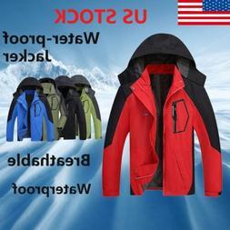 USA Men Waterproof Outdoor Hoodie Coat Jacket Winter Warm Sh