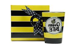 Whimsical Queen Bee 13 oz Coffee Mug with Polka Dot Bow on H