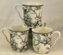 222 Fifth Adelaide Gray / White Floral & Bird Porcelain Coff
