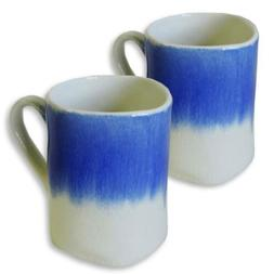 AllAsta Coffee Mugs Indigo Blue White Splash Crazed Vintage