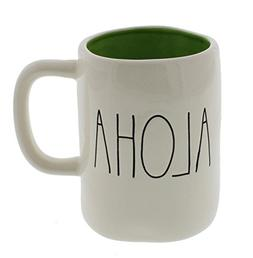 Rae Dunn by Magenta ALOHA Ceramic Coffee Mug Green Interior