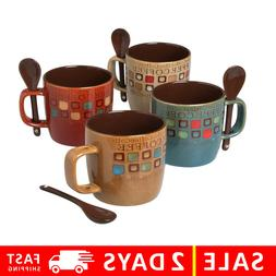 Americano Coffee Mug Spoon Tea Cup Ceramic Cafe Microwave Sa