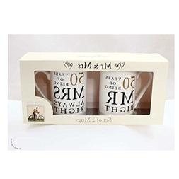50th Anniversary Gift Set of 2 China Mugs 'Mr Right & Mrs Al