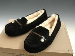 Uggs Ansley, Womens Slippers, Black Suede w/ Crystal Zipper