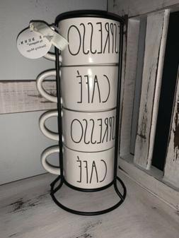 Rae Dunn Artisan Collection ESPRESSO CAFE Stacking Mugs Coff