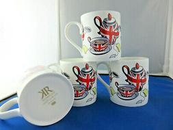 ARTY GLOBE set FOUR  FINE BONE CHINA mugs, Made In England R