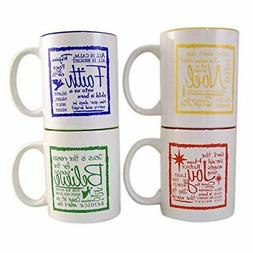 Written Reflections Assorted Christmas Holiday Mugs, 10 Ounc