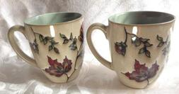 Autumn Mugs Set of 2 Textured Red Fall Leaves Flowers 12 oz