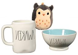 Rae Dunn Awaken Ice Cream Cereal Bowl and Mug Set with Gray