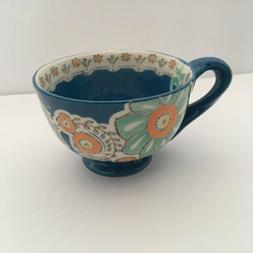 "Anthropologie ""AYAKA"" Blue 12 oz Mug Cup Floral Embossed"