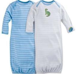 GERBER BABY BOY Lap Shoulder Gowns 2-Pack - DINOSAUR Baby Sh