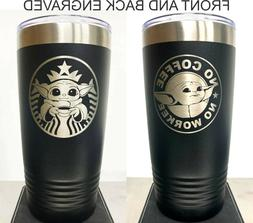 Baby Yoda Starbucks Coffee Cup, 20 oz Black, Insulated Cup,