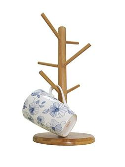 Bamboo Mug Tree Rack Stand with 6 Storage Hooks, Hold and Dr