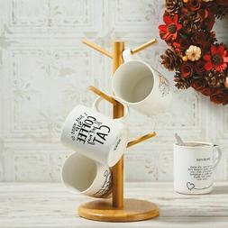 Bamboo Wooden Tree Mug Rack Coffee Cup Holder Display Stand