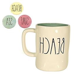 Rae Dunn BEACH Mug Coffee Cup Gift Set with Sea Surf and Bea