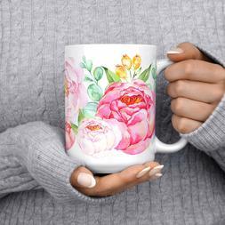 Beautiful Coffee Mug Floral Tea Mug Watercolor Flowers Ceram