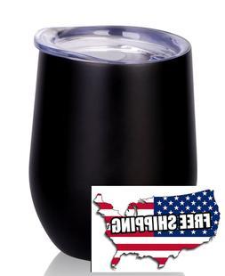 Bev Insulated Double Wall 12oz Wine Glass Coffee Cup Mug Tum