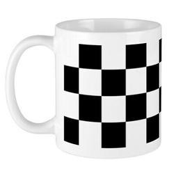 CafePress BLACK AND WHITE Checkered Pattern Mugs 11 oz Ceram