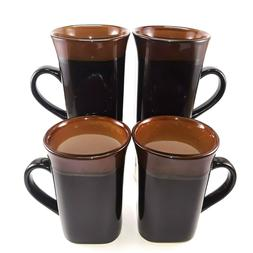 Royal Norfolk Black/Brown Stoneware Coffee Mugs Dinnerware C