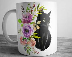 Black CAT Mug 11 oz Cat Lover Gift Pet Coffee Mug Cute Kitty