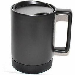 Black Ceramic Desktop Mug Silicone Nonslip Bottom With Press