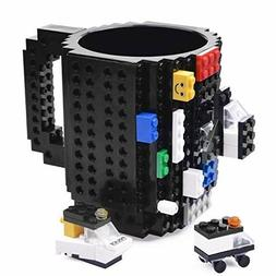 Black Lego Build-on Brick Mug, Building Blocks Coffee Cup, U